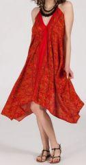 Originale robe mi-longue ethnique asym�trique Rouge Zaina 272830