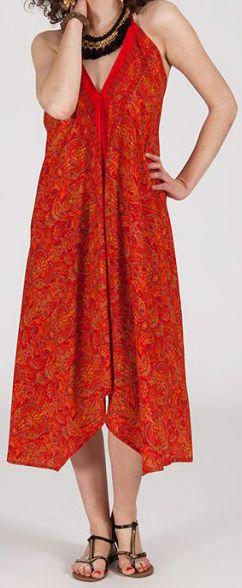 Originale robe mi-longue ethnique asymétrique Rouge Zaina 272831