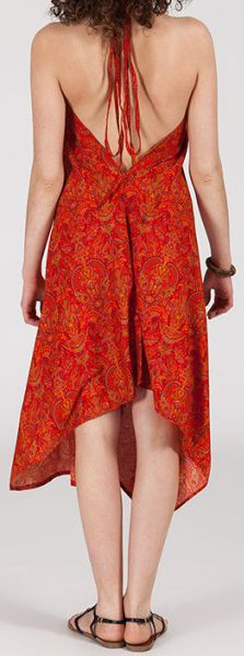 Originale robe mi-longue ethnique asymétrique Rouge Zaina 272832