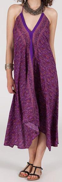 Originale robe mi-longue ethnique asymétrique Violette Zaina 272833