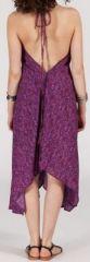 Originale robe mi-longue ethnique asymétrique Violette Zaina 272834