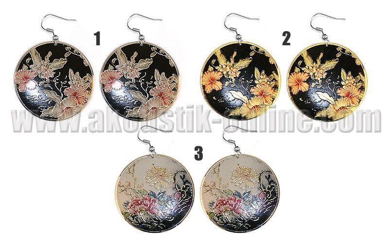 Paire de boucle d\'oreille Art Floral Chinois 238678