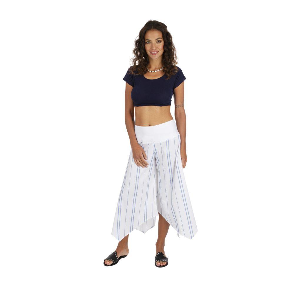 Pantalon 3/4 rayé blanc pour femme coupe ample et large Biny 317019