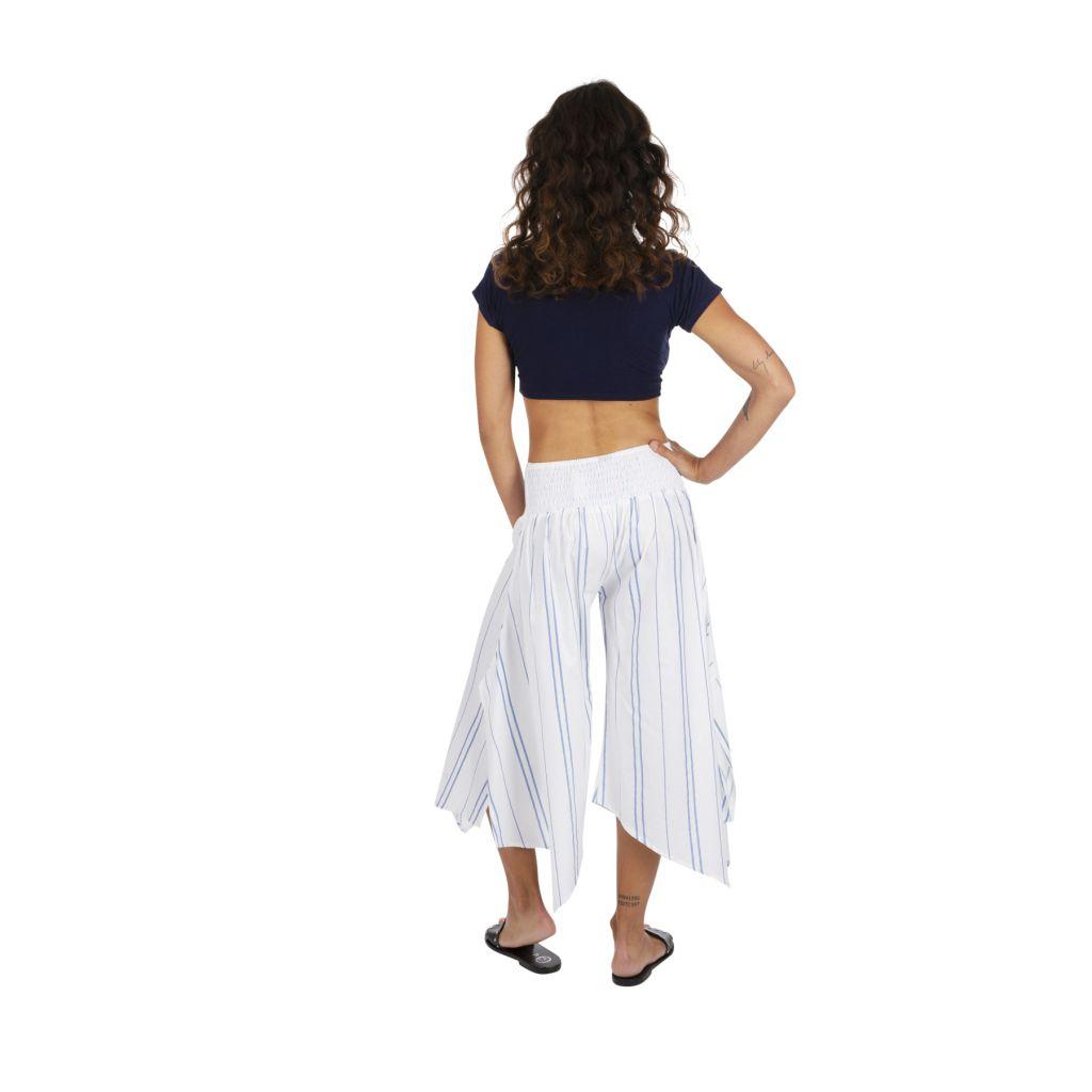 Pantalon 3/4 rayé blanc pour femme coupe ample et large Biny 317020
