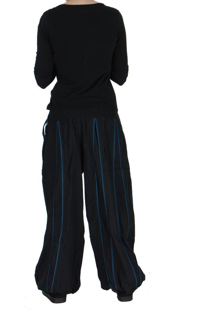 Pantalon aladin mixte noir et bleu Gary 267308