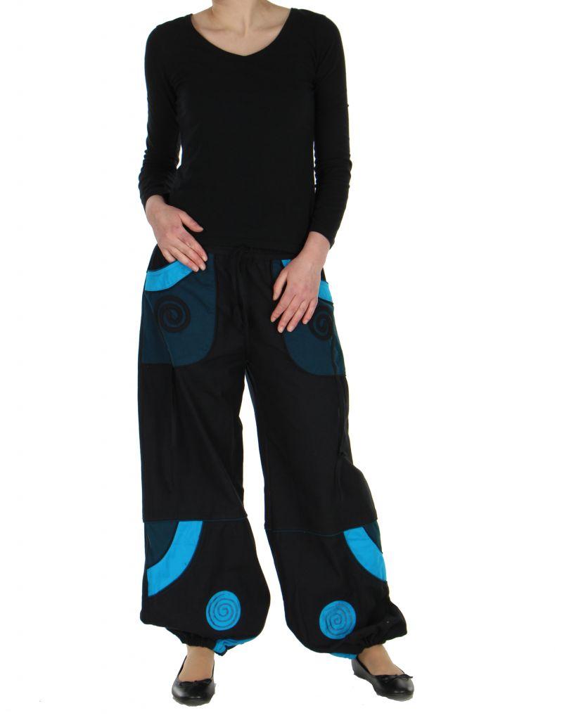 Pantalon baba cool mixte noir et bleu Egway 267576