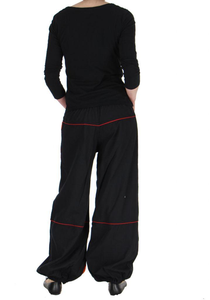 Pantalon baba cool mixte noir et rouge Egway 267575