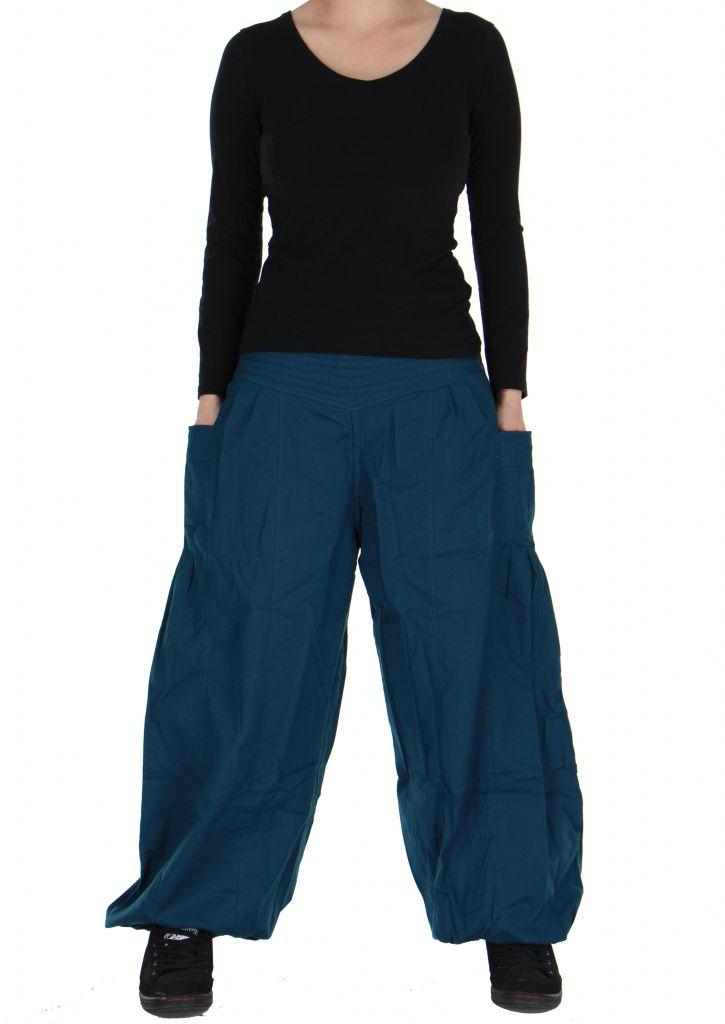 Pantalon basique ethnique Aladin bleu 266654