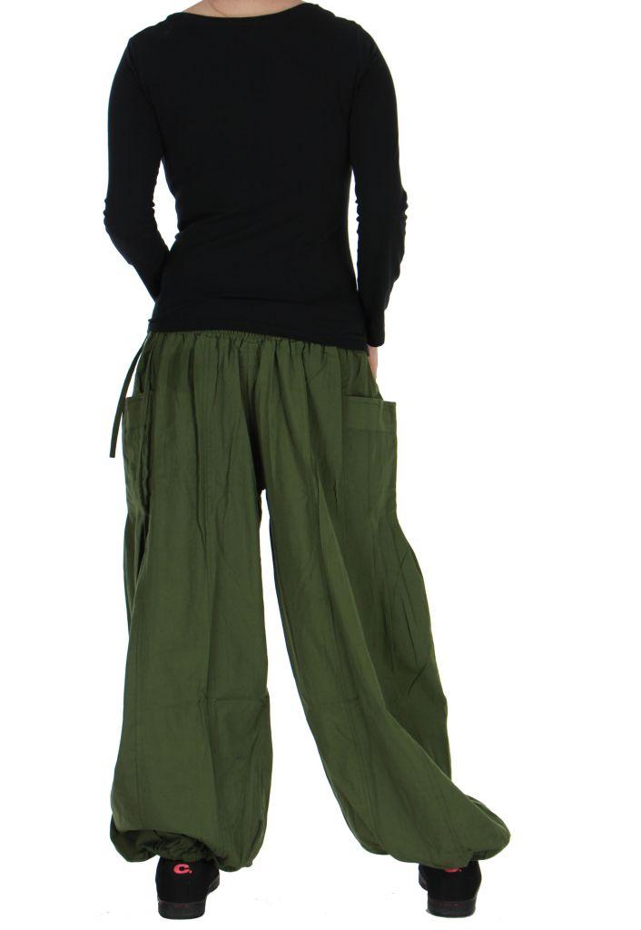 Pantalon basique ethnique Aladin kaki 266653