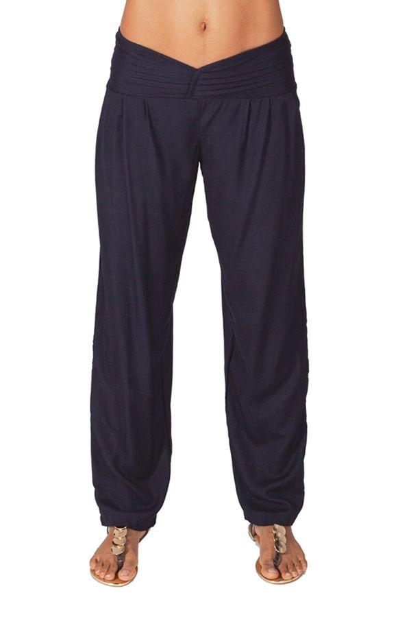 Pantalon Bleu Marine à taille basse Ethnique et Original pour femme Giulio 282294