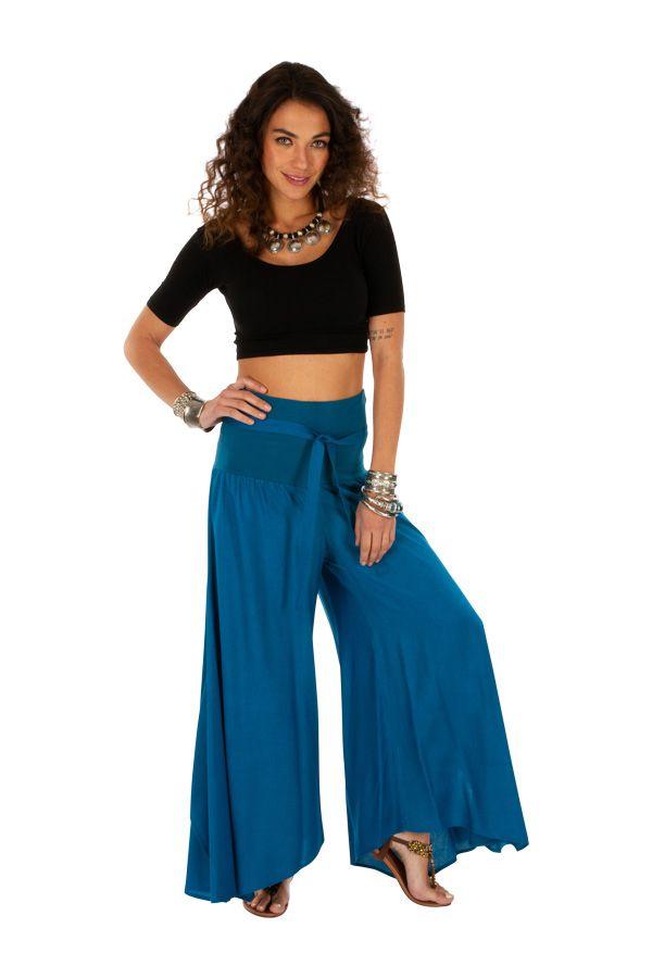 Pantalon bleu pour femme coupe ample et large Monika 311072