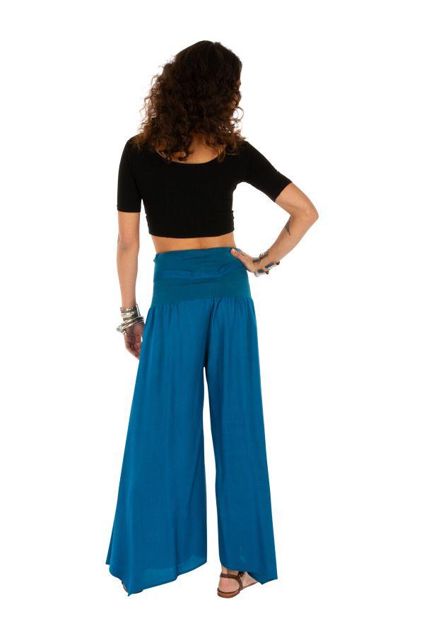 Pantalon bleu pour femme coupe ample et large Monika 311073