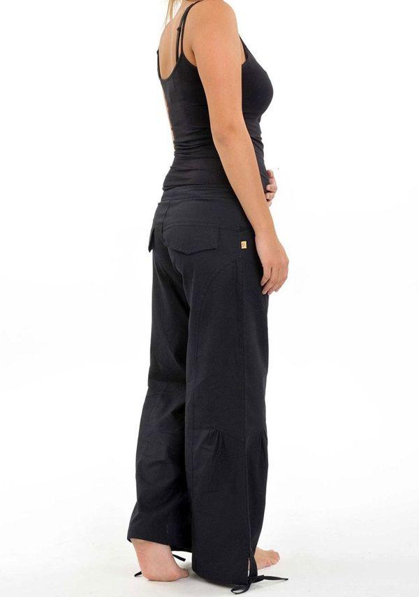 Pantalon classique noir pour femme en coton épais du Népal Hina 304700