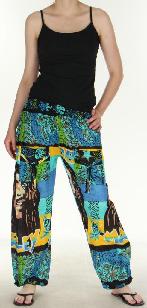 Pantalon coloré et imprimé à poches fantaisie Bob Marley Reggae 2 273059