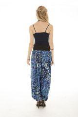 Pantalon coupe fluide et bouffante avec imprimés ethniques bleu Skule 289679