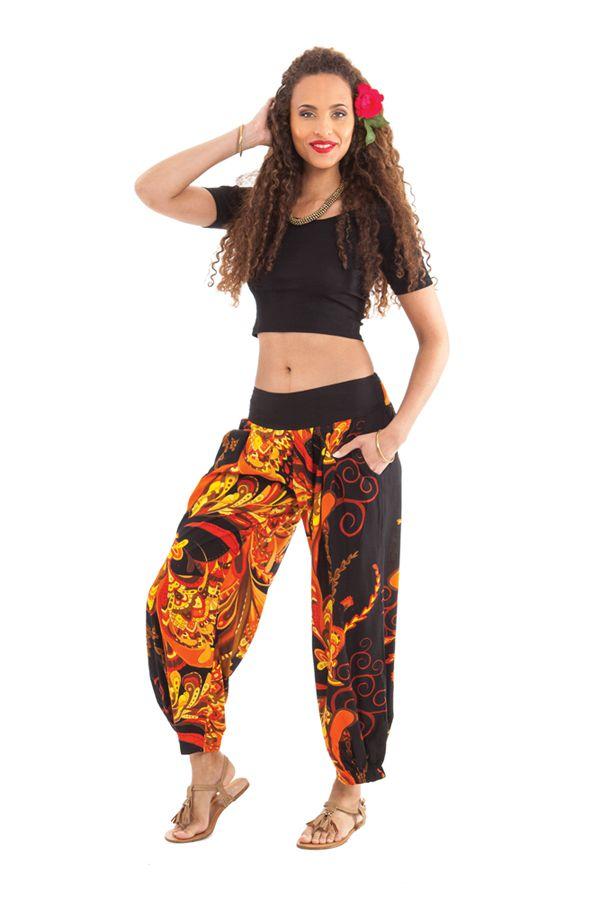 Pantalon d'été 7/8 Ethnique et Original Rudolf Noir et Orange 281355