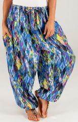 Pantalon d'été pour femme Ethnique et Bouffant Khan Bleu 277788