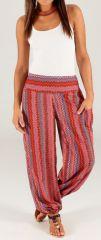 Pantalon d'été pour Femme Ethnique et Fluide Capri Rouge 280319