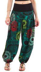 Pantalon d'été pour Femme Noir et Vert Bouffant et Coloré Maxence 281226