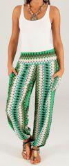 Pantalon d'été pour Femme Vert Fluide et Ethnique Capri 280321