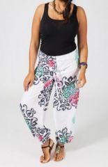 Pantalon �t� blanc ethnique grande femme 270702