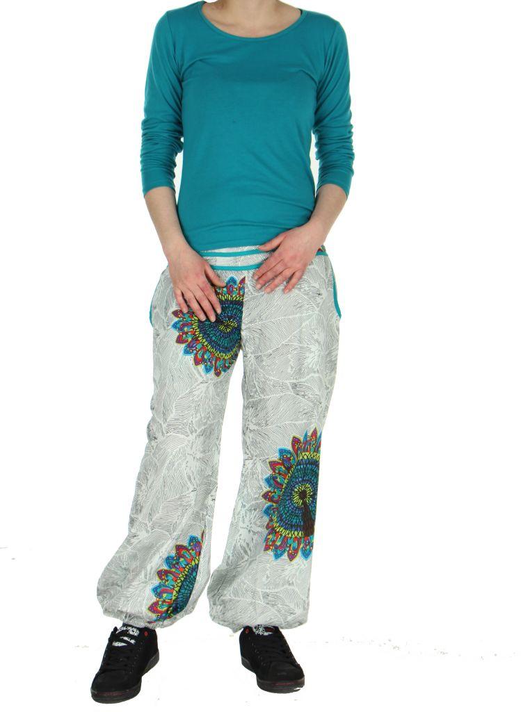 Pantalon ethnique blanc Zélie 268231
