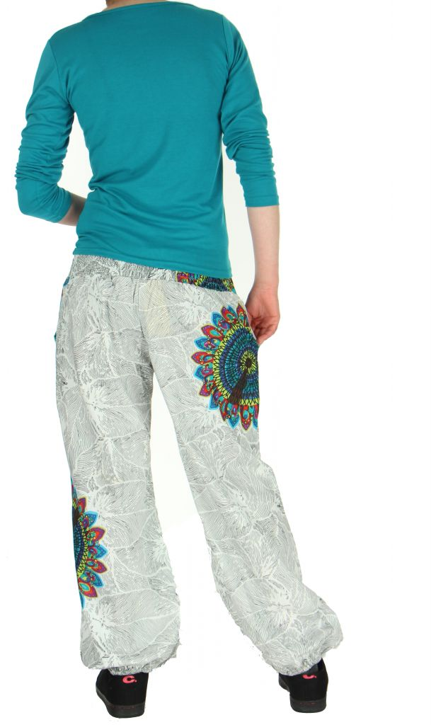Pantalon ethnique blanc Zélie 268232