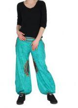 Pantalon ethnique bleu Zélie 268235