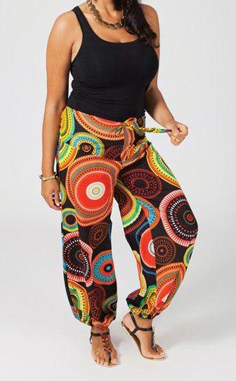 Pantalon ethnique grande taille coloré Aby 270700