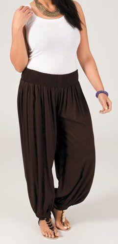 Pantalon ethnique marron grande taille Edeni