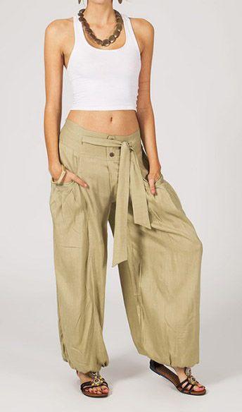 Pantalon femme ample Karime beige 268097