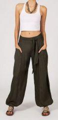 Pantalon femme ample Karime kaki 268095