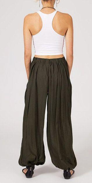 Pantalon femme ample Karime kaki 268096
