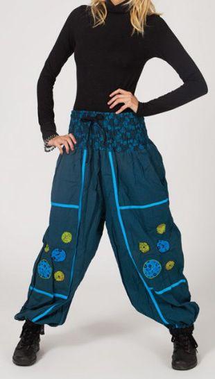 Pantalon femme baba bleu Voilou