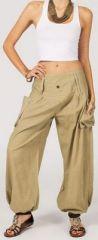 Pantalon femme baggy bouffant beige en coton Roms 270997