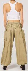 Pantalon femme baggy bouffant beige en coton Roms