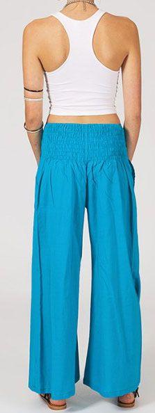Pantalon femme bleu clair effet évasé en coton léger Gaspa