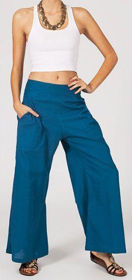 Pantalon femme bleu pétrole effet évasé en coton léger Gaspa 270736