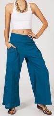 Pantalon femme bleu p�trole effet �vas� en coton l�ger Gaspa 270736