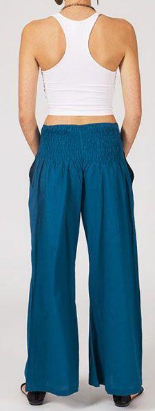 Pantalon femme bleu pétrole effet évasé en coton léger Gaspa