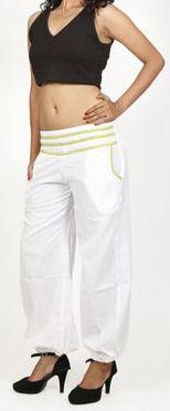 Pantalon femme d'été bouffant en coton uni blanc Cikus 271132