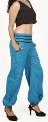 Pantalon femme d'été bouffant en coton uni bleu Cikus 271128