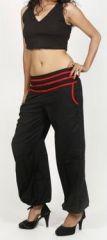 Pantalon femme d'été bouffant en coton uni noir Cikus 271126