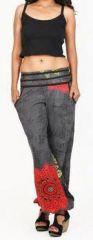 Pantalon femme d'�t� imprim� et d�contract� noir Divola 271693