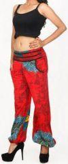 Pantalon femme d'�t� imprim� et d�contract� rouge Divola 271695