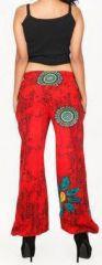Pantalon femme d\'été imprimé et décontracté rouge Divola