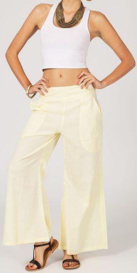 Pantalon femme effet évasé blanc en coton léger Gaspa 270720