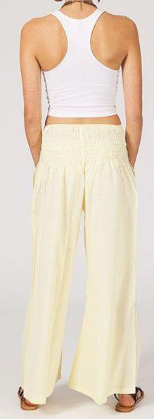 Pantalon femme effet évasé blanc en coton léger Gaspa