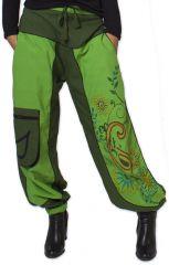 Pantalon Femme Ethnique et Coloré Narmadal Vert 275879