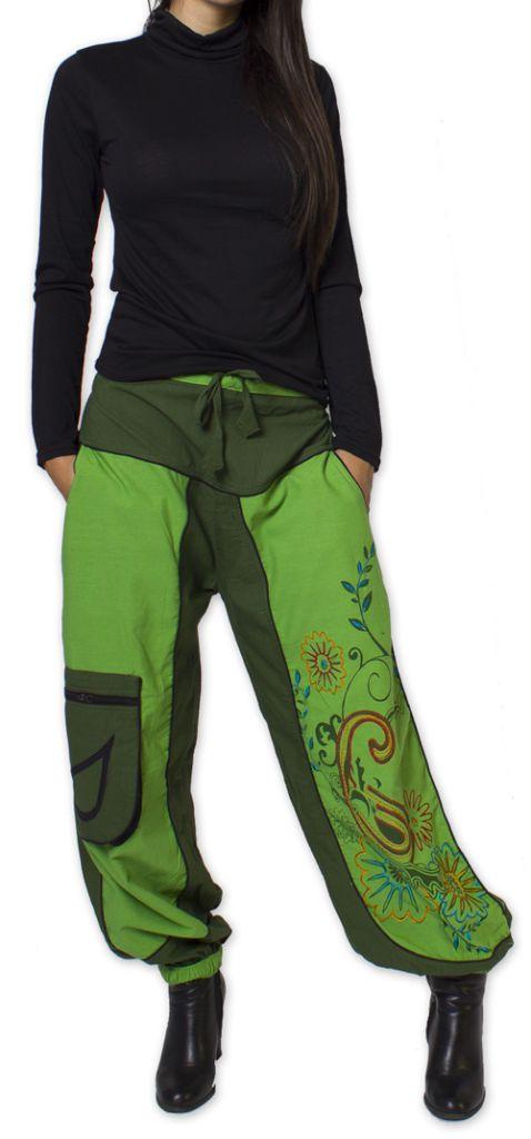 Pantalon Femme Ethnique et Coloré Narmadal Vert 275881